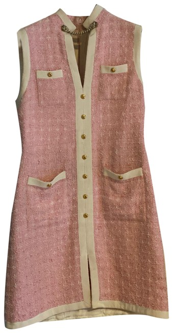 Item - Pink and White Tweed Tiger Detail Mid-length Work/Office Dress Size 10 (M)