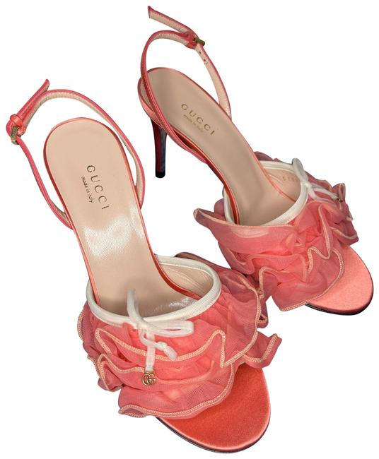 Item - Peach / Pink Fabric Satin Leather White Soft Toulle Bow Sandals Dm123 Mules/Slides Size EU 36.5 (Approx. US 6.5) Regular (M, B)