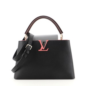 Item - Capucines Tricolor Pm Black Gray Pink Leather Cross Body Bag