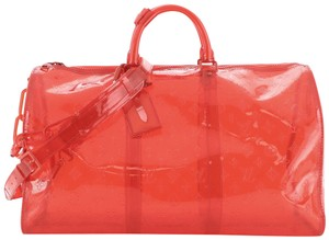 Item - Keepall Bandouliere Limited Edition Monogram 50 Clear Red Pvc Weekend/Travel Bag