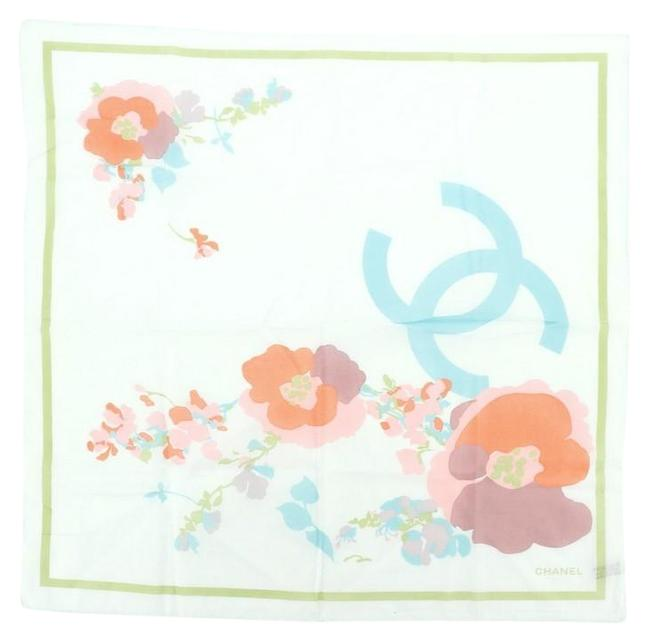 Item - Blue Multicolor Floral Printed Cotton Scarf/Wrap