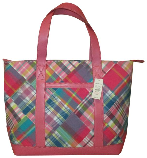 Item - Plaid Patchwork Pink Multi Cotton & Leather Tote