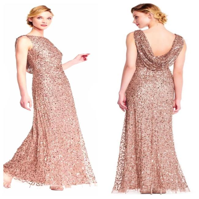 Item - Rose Gold Cowl Draped Back Sequin Ornate Gown Long Cocktail Dress Size 4 (S)