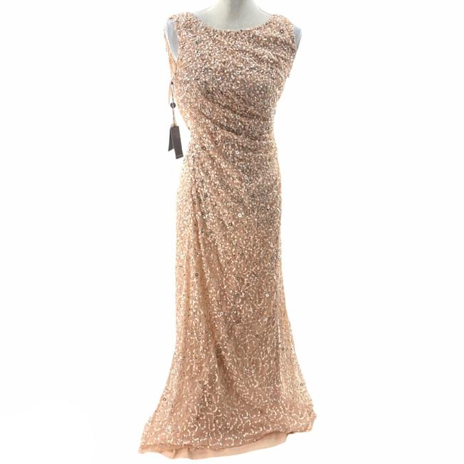 Adrianna Papell Rose Gold Cowl Draped Back Sequin Ornate Gown Long Cocktail Dress Size 4 (S) Adrianna Papell Rose Gold Cowl Draped Back Sequin Ornate Gown Long Cocktail Dress Size 4 (S) Image 2