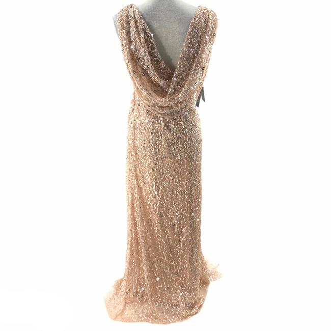 Adrianna Papell Rose Gold Cowl Draped Back Sequin Ornate Gown Long Cocktail Dress Size 4 (S) Adrianna Papell Rose Gold Cowl Draped Back Sequin Ornate Gown Long Cocktail Dress Size 4 (S) Image 3