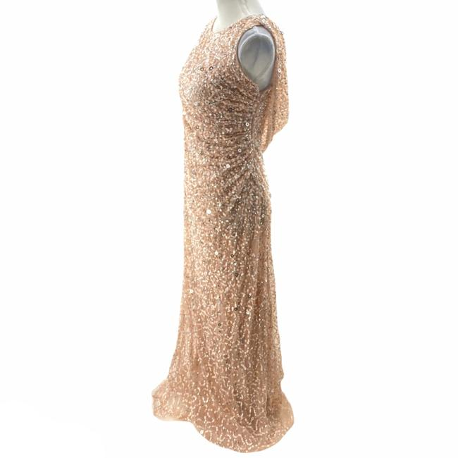 Adrianna Papell Rose Gold Cowl Draped Back Sequin Ornate Gown Long Cocktail Dress Size 4 (S) Adrianna Papell Rose Gold Cowl Draped Back Sequin Ornate Gown Long Cocktail Dress Size 4 (S) Image 4