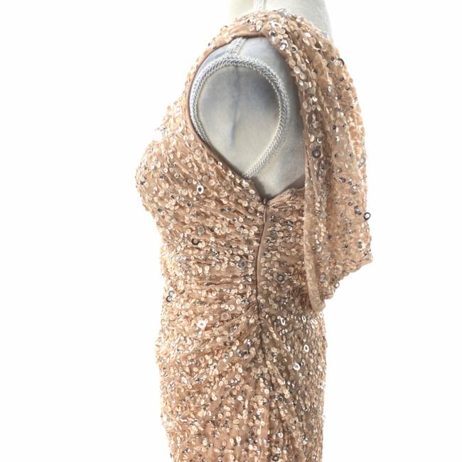 Adrianna Papell Rose Gold Cowl Draped Back Sequin Ornate Gown Long Cocktail Dress Size 4 (S) Adrianna Papell Rose Gold Cowl Draped Back Sequin Ornate Gown Long Cocktail Dress Size 4 (S) Image 5