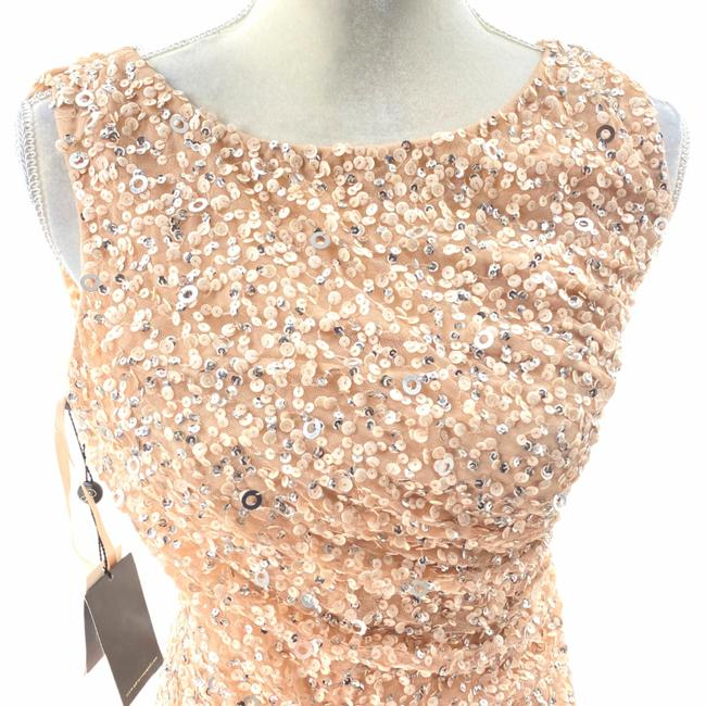 Adrianna Papell Rose Gold Cowl Draped Back Sequin Ornate Gown Long Cocktail Dress Size 4 (S) Adrianna Papell Rose Gold Cowl Draped Back Sequin Ornate Gown Long Cocktail Dress Size 4 (S) Image 6