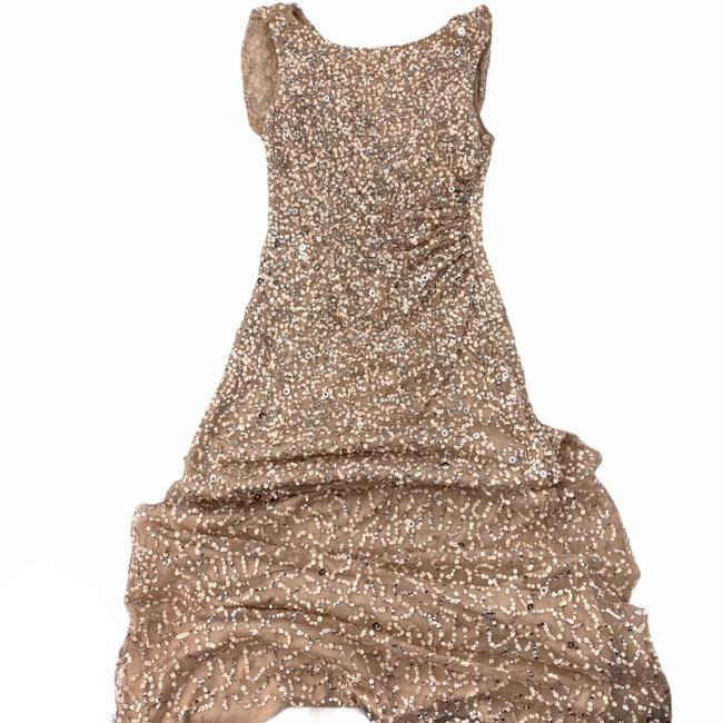 Adrianna Papell Rose Gold Cowl Draped Back Sequin Ornate Gown Long Cocktail Dress Size 4 (S) Adrianna Papell Rose Gold Cowl Draped Back Sequin Ornate Gown Long Cocktail Dress Size 4 (S) Image 7