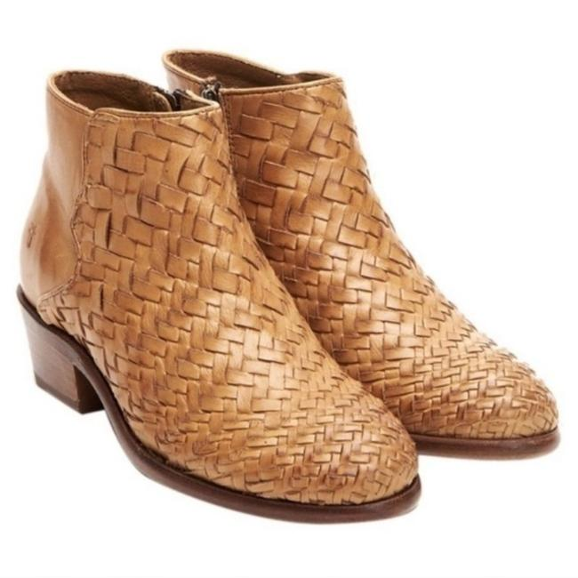 Item - Tan Carson Woven Leather Stacked Heel Boots/Booties Size US 7 Regular (M, B)