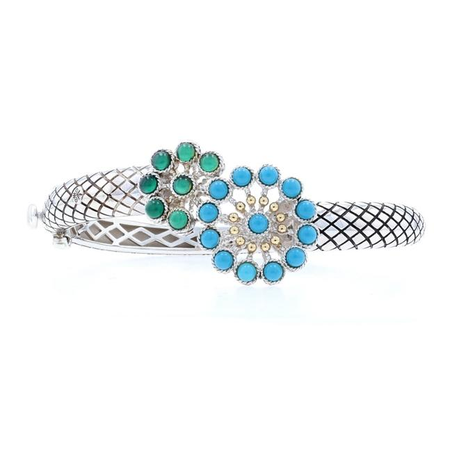Item - Silver/Yellow Turquoise & Chalcedony Flower Bangle Bracelet