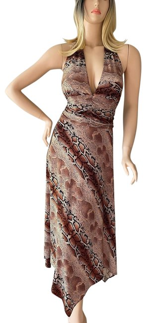 Item - Brown/Tan Snakeskin Printed V-neck Backless Asymmetrical Mid-length Short Casual Dress Size 14 (L)
