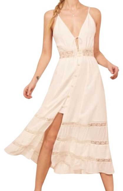 Item - Ivory Shelley Lace-trimmed Georgette V Neck Midi Mid-length Casual Maxi Dress Size OS