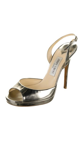 Item - Silver Metallic Leather Slingback Pumps Size US 10 Regular (M, B)