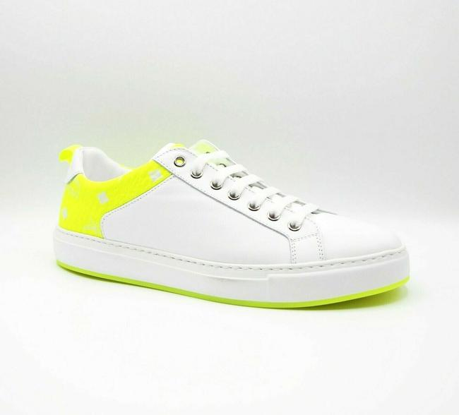 Item - White Leather Neon Green Trim Low-top Sneaker 42/Us 9 Mex9alc67wt Shoes