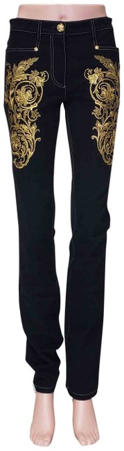 Item - Black L Pre-fall 2013 # Baroque Gold Embroidered S Straight Leg Jeans Size 26 (2, XS)
