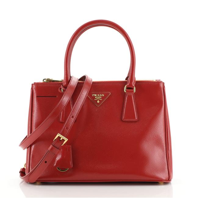Item - Double Lux Zip Vernice Saffiano Small Red Leather Tote