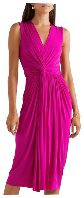 Item - Pink Jersey Twist Collect. Front Mid-length Cocktail Dress Size 6 (S)
