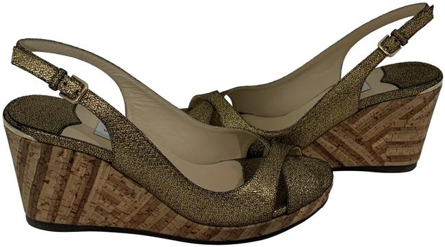 Item - Gold W 31220 Crackled Leather W/Patchwork Cork Wedges Size EU 38 (Approx. US 8) Regular (M, B)
