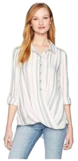 Item - Blue White Black Mackenzie Blouse Button-down Top Size 12 (L)