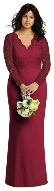 Item - Red Bridesmaid Lace Sleeve Gown Burgundy Long Formal Dress Size 12 (L)