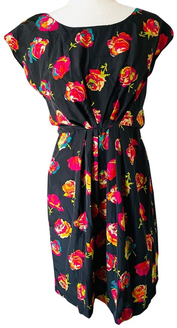 Item - Black Red Pink Rose Short Night Out Dress Size 2 (XS)