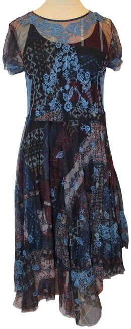 Item - Multicolor Embroidered Mesh Overlay 2 Piece Mid-length Casual Maxi Dress Size 4 (S)