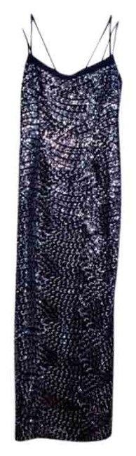 Item - Silver Black Beaded Sparkle Long Formal Dress Size 6 (S)