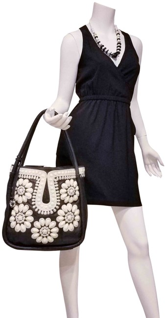 Item - Amazing Purse Beaded Sequin Embroidered Floral Gray Leather Shoulder Bag