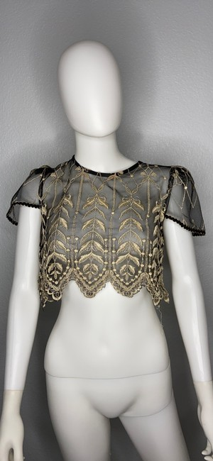 Item - Black Lace Sheer Evening Top Cover Formal Bridesmaid/Mob Dress Size 4 (S)
