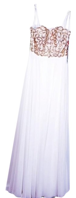 Item - White and Gold Gown Long Formal Dress Size 8 (M)