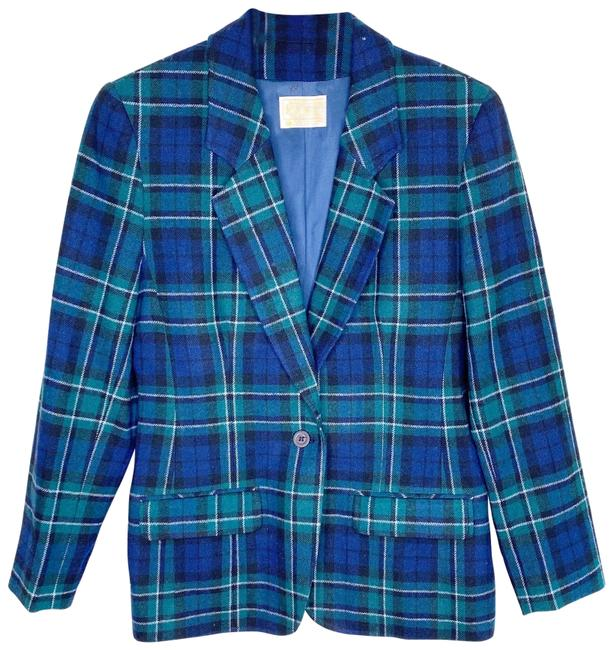 Item - Blue and Green Vintage Flannel Print Blazer Size 8 (M)