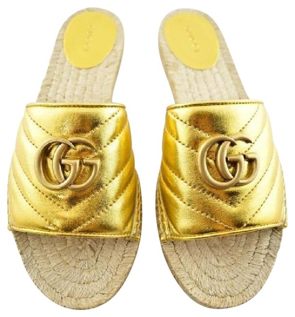 Item - Yellow Marmont Espadrille Slide Metallic Gg Logo Mule Flat Sandals Size EU 36.5 (Approx. US 6.5) Regular (M, B)