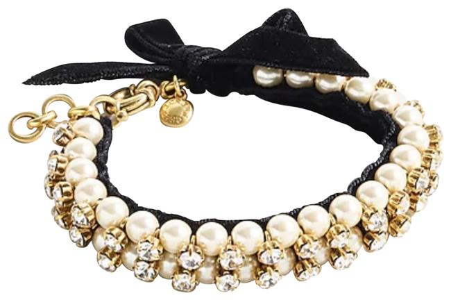 Item - Pearl And Crystal with Velvet Bow Bracelet