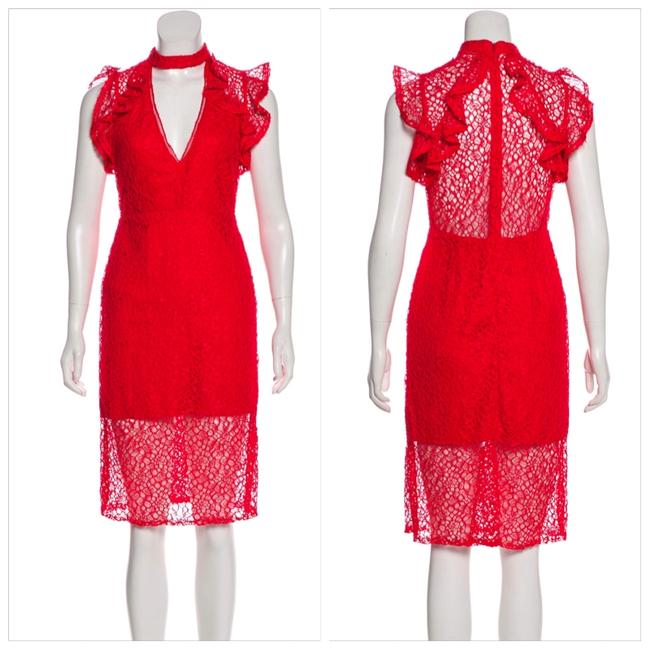 Item - Red Lace Knee-length Short Cocktail Dress Size 4 (S)