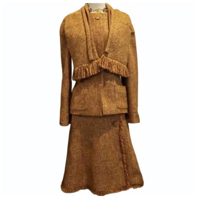 Item - Gold Brown 2001 Collection Tweed 3 Piece with Scarf Skirt Suit Size 6 (S)