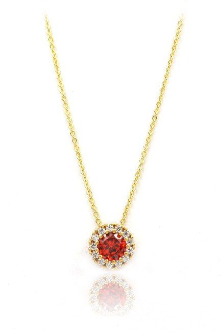 Item - Red 925 Gold Crystal Necklace