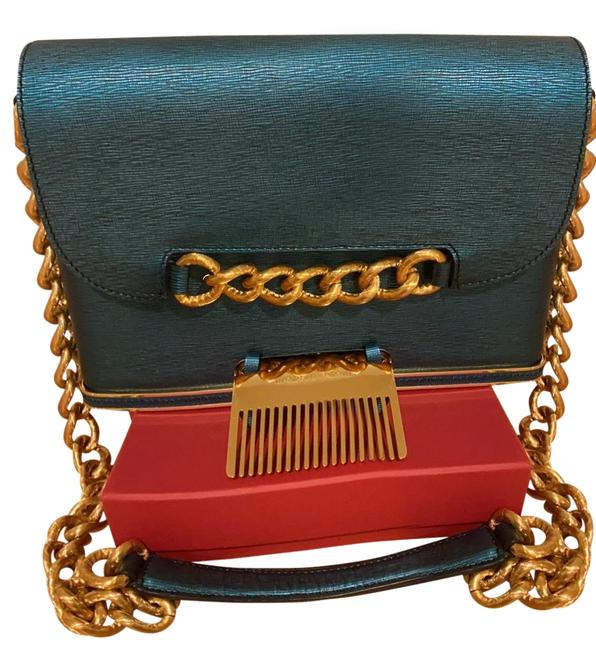 Item - Made In Italy Teal Metallic Leather Cross Body Bag