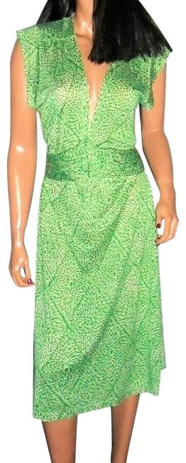 Item - Green/White XL Floral Mid-length Work/Office Dress Size 16 (XL, Plus 0x)