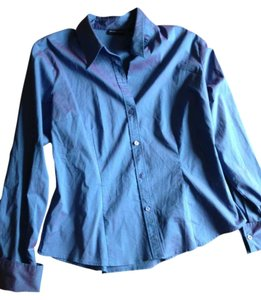 New York & Company Button Down Shirt Teal/Purple