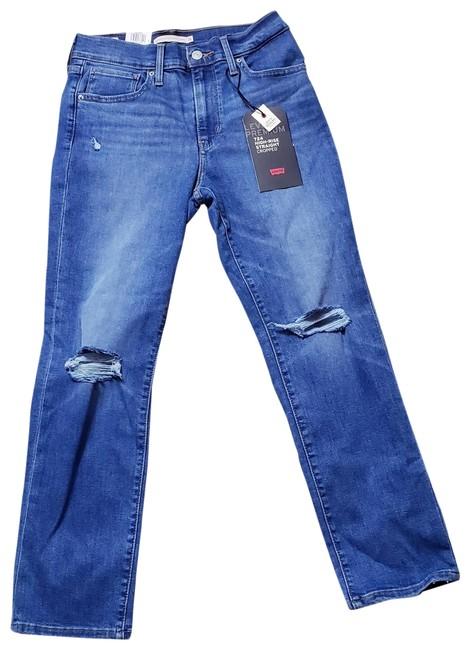 Item - Blue Distressed Women's 724 High Rise Straight Crop 28x25 (6) Capri/Cropped Jeans Size 28 (4, S)