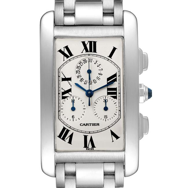 Item - Silvered Tank Americaine Chronograph White Gold Mens W26033l1 Watch