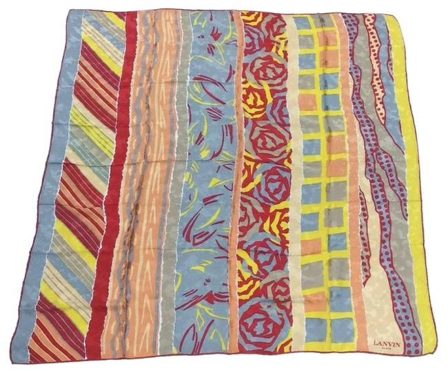 Item - Yellow/Blue/Purple/Red/Pink Abstract Print Silk Scarf/Wrap