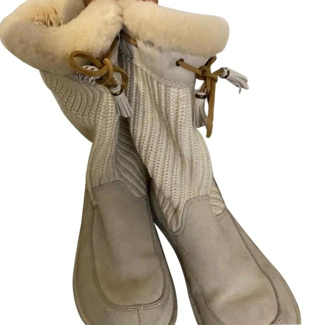 Item - Cream Knitted Fleece Lined Boots/Booties Size US 9 Regular (M, B)
