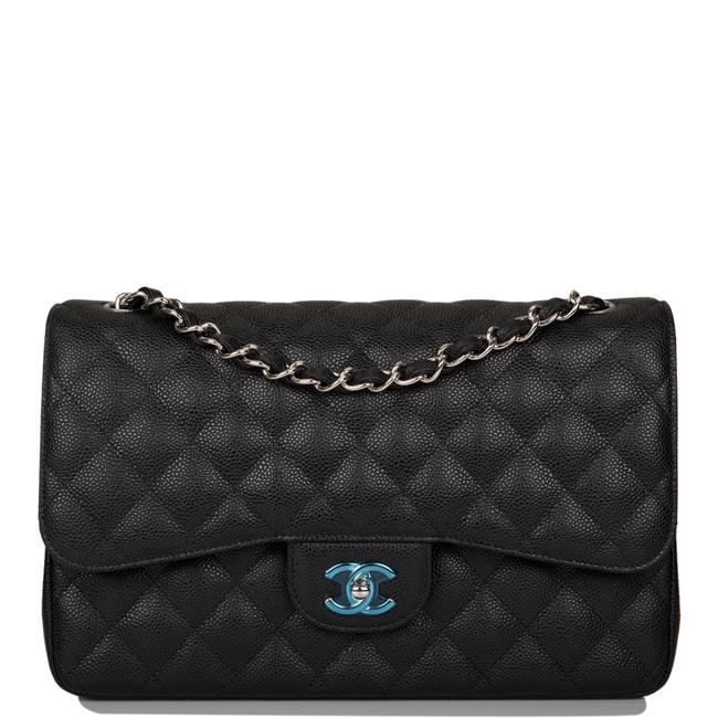 Chanel Classic Flap Quilted Caviar Jumbo Classic Double Silver Hardware Black Leather Shoulder Bag Chanel Classic Flap Quilted Caviar Jumbo Classic Double Silver Hardware Black Leather Shoulder Bag Image 1