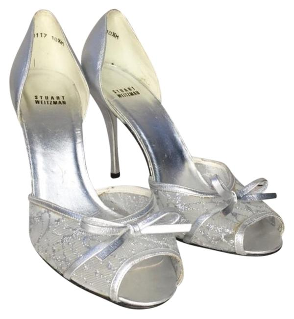 Item - Silver Vintage Lace Stiletto Heels Formal Shoes Size US 10.5 Regular (M, B)