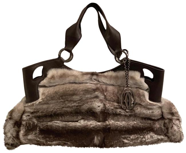 Item - Marcello Gray & Brown Rabbit Fur Satchel