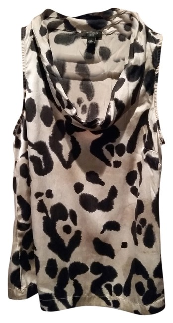Ann Taylor Silk Leopard Print Top black and beige