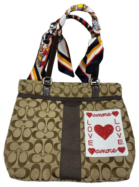 Item - W Customized W/ Embellishments and Applique Tan Brown Tote