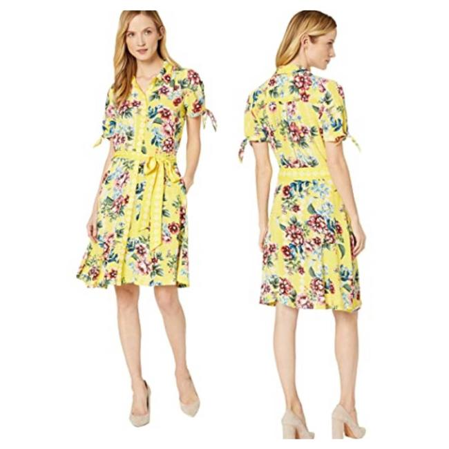 Item - Multicolor Yellow Floral Button Down Flare Small Short Casual Dress Size 4 (S)